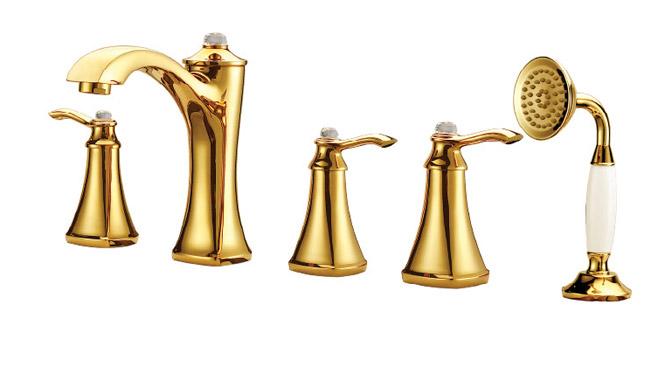 金色五联龙头 浴室厨房多功能淋浴手持花洒水龙头 DP31008A