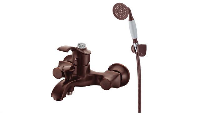古铜色简易淋浴花洒带浴缸龙头 三联冷热水混合阀 DP31004B