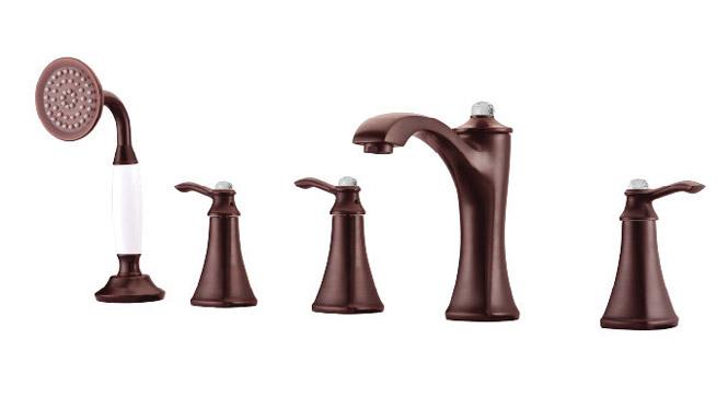 古铜带钻五联龙头 浴室欧式浴缸带花洒淋浴水龙头 DP31008B