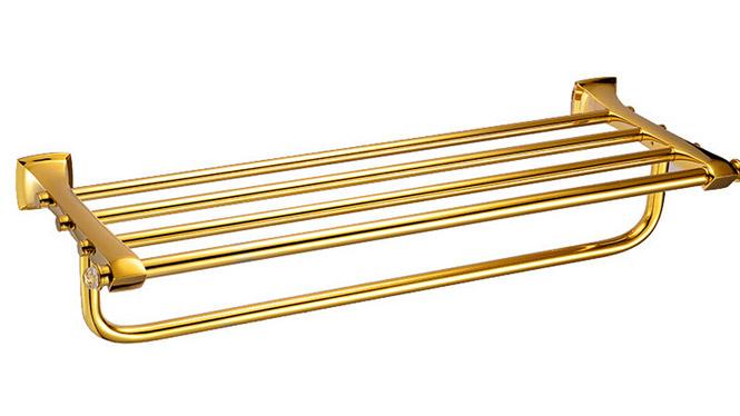 DP3118A带钻浴巾架 浴室挂件金色毛巾架厂家批发双层置物架