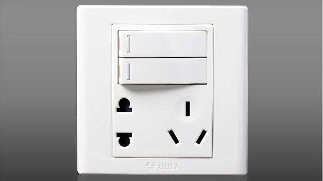 公牛墙壁开关插座面板插座G06E423 电源 二开+5孔 二开单控+五孔
