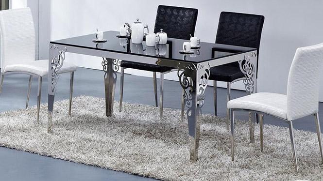 厂家直销 餐桌 不绣钢大理石餐台 时尚现代简约 餐桌椅组合 可定制