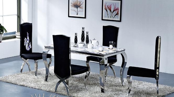 大理石餐桌椅组合套装 简约现代餐桌长方形饭桌餐台欧式