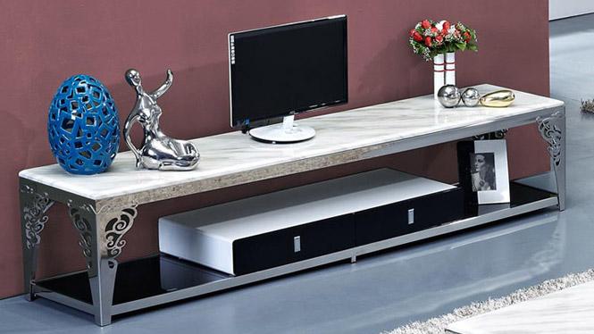 简约现代不锈钢电视柜 不锈钢钢化玻璃大理石电视柜