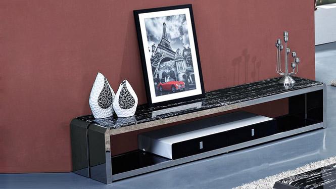 客厅大理石电视柜茶几简约现代 不锈钢地柜小户型储物烤漆