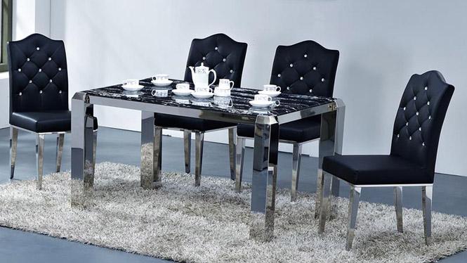 现代餐桌 欧式大理石不锈钢餐桌 新古典玻璃餐台餐桌椅组合