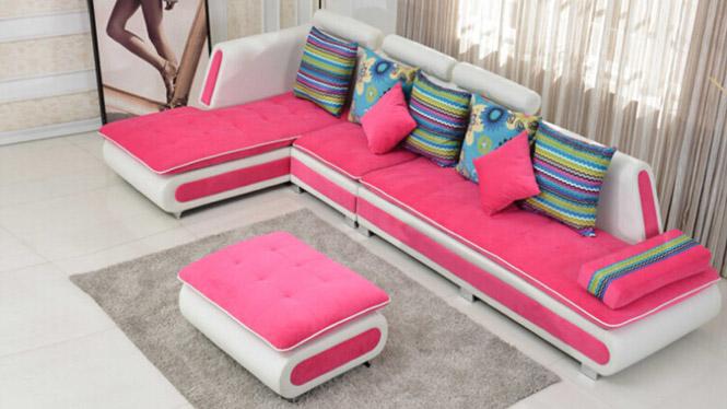 布艺沙发现代简约大小户型客厅转角皮布沙发组合家具