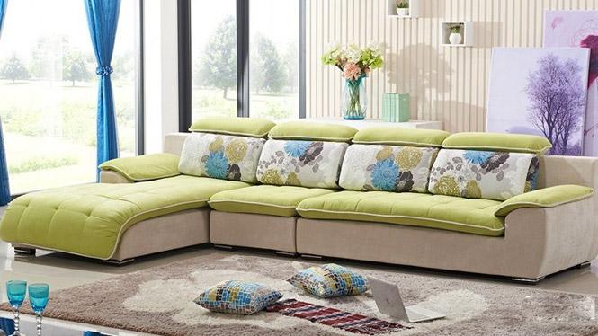 布艺沙发中小户型客厅布沙发现代简约三人位沙发 可拆洗家具