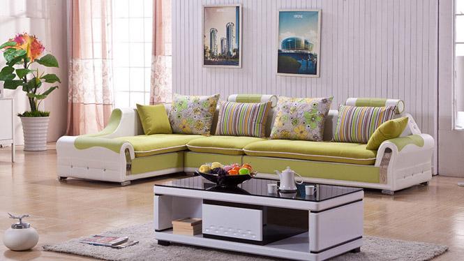 时尚客厅家具简约现代皮布艺沙发含转角组合沙发