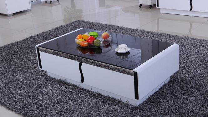 现代简约茶几钢化玻璃 储物 烤漆 板式家具 创意茶几