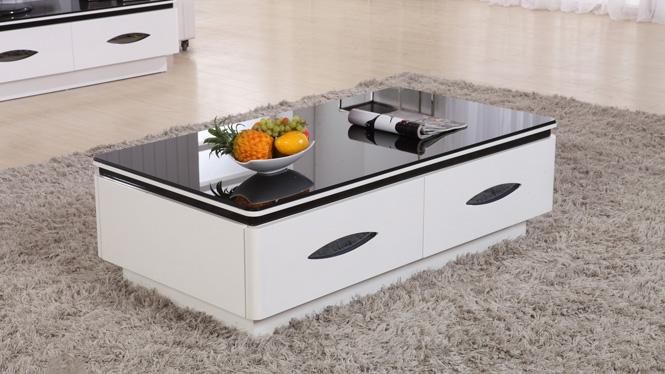 客厅现代简约家具钢化玻璃创意小茶几 小户型白钢琴烤漆茶桌