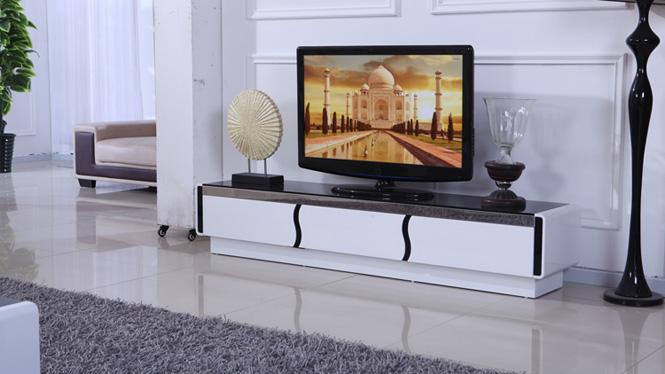 客厅电视柜 简约钢化玻璃不锈钢框架存储抽屉烤漆亮光