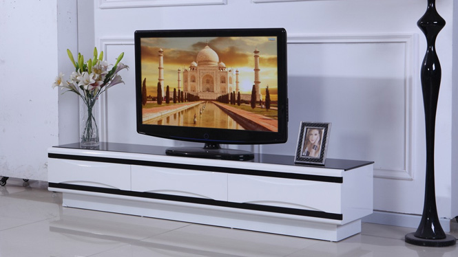 电视柜地柜电视机柜现代简约中式客厅家具可伸缩黑白色茶几组合柜