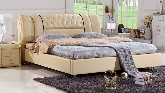 现代简约皮艺软床 头层真皮皮床 软靠背1.5 1.8米婚床正品