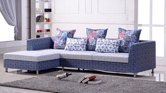 布艺沙发 住宅客厅家具 现代小户型家私 欧式转角贵妃组合 布沙发 A007