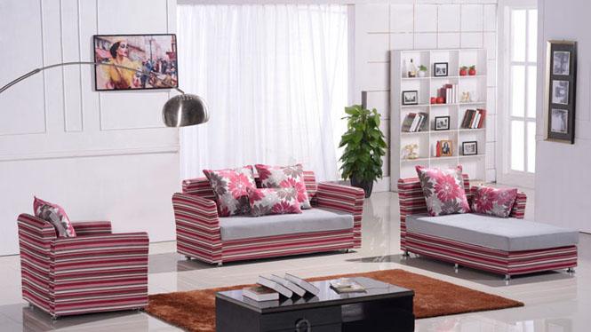 沙发 布艺沙发组合 简约现代转角大小户型客厅家具 可拆洗布沙发 8010