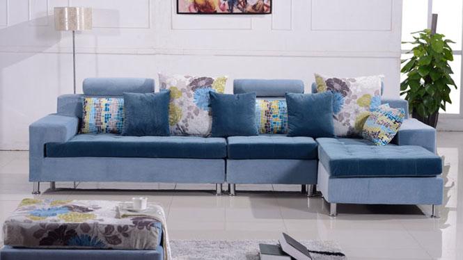 沙发 布艺沙发 组合沙发 现代简约小户型客厅转角沙发家具 布沙发 8003b