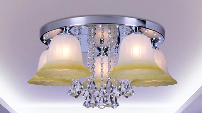 水晶客厅灯LED吸顶房间卧室灯时尚简约温馨浪漫饭厅餐厅灯 88007