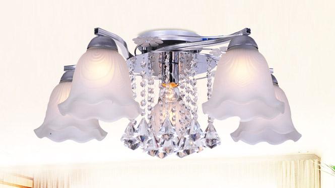 水晶客厅灯LED吸顶房间卧室灯时尚简约温馨浪漫饭厅餐厅灯具 88016