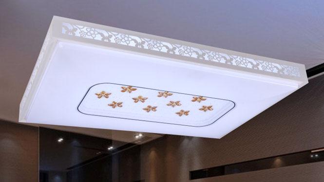 新款现代简约长方形LED调光调色吸顶灯客厅书房餐厅卧室灯 84003