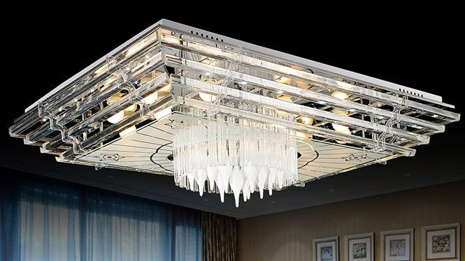 水晶灯客厅灯长方形 吸顶灯led现代简约大气灯具灯饰  5708