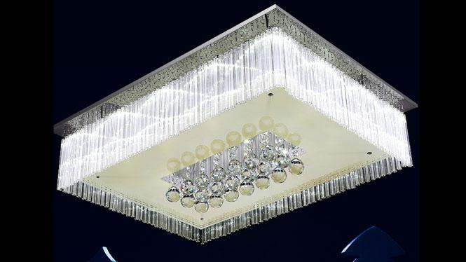 长方形水晶灯 客厅灯 现代led吸顶灯 卧室餐厅灯 8004