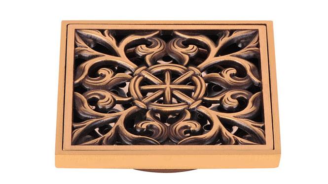 豪华地漏浴室防臭防虫防溢水欧式精铸全铜仿古 雕花 DL-5012
