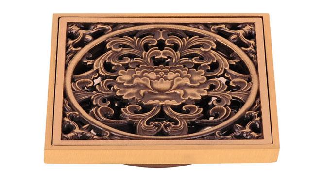 全铜仿古防臭地漏 古铜色欧式雕花地漏 豪华型 DL-5009
