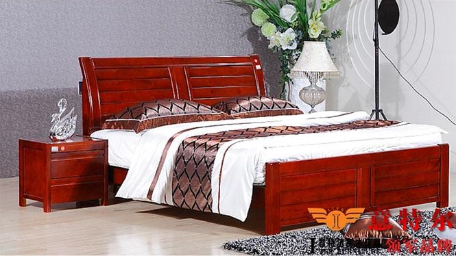 全实木卧室家具儿童床1.35米成人床1.5米双人床1.8米床 6820