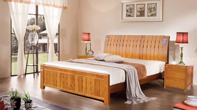 现代中式橡木床白色实木床1.8米双人床1.5米简约儿童床特价 6816