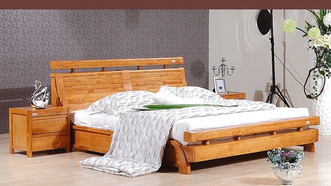 橡木田园宜家家具婚床实木床双人床榻榻米床1.8米特价 6836