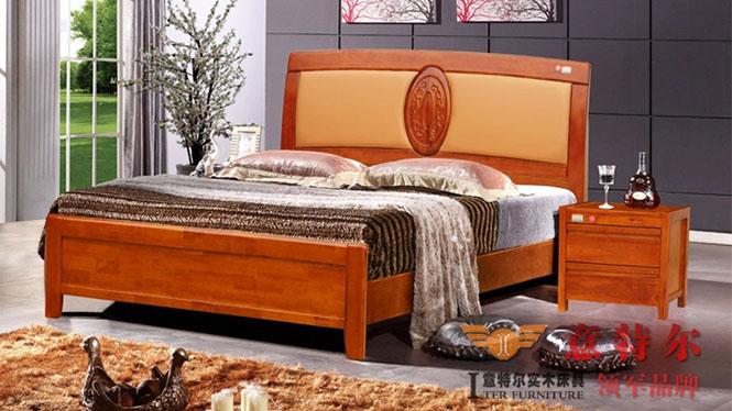 全实木橡木床中式简约现代带软靠背田园床双人床1.8米特价 6856