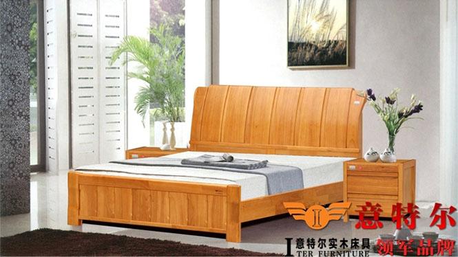 新品全实木卧室家具简约中式橡胶木实木床1.8米双人床特价 6858