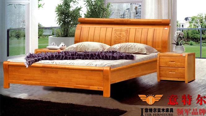 现代中式橡木床 全实木厚重双人床1.8米床头带雕花新品特价 6860