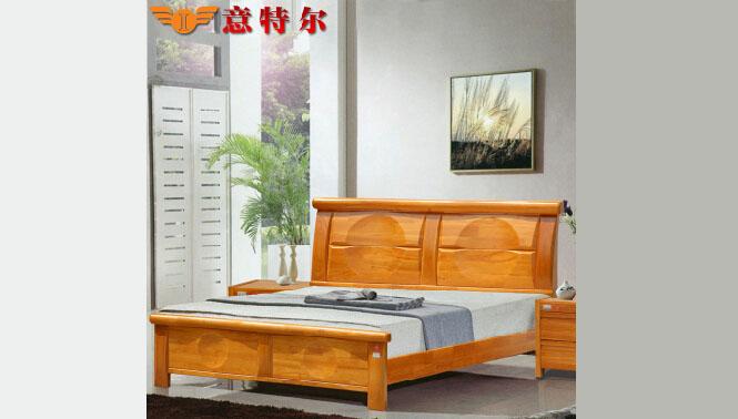 全实木橡木床宜家简易现代中式实木床成人双人床1.8米特价 6861