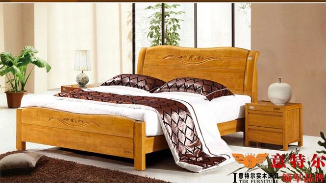 现代中式橡木床 全实木厚重双人床1.8米床头带雕花新品特价 6862
