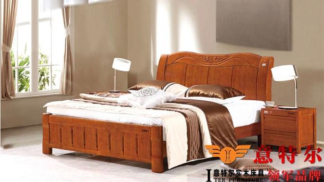 现代中式橡木床原木实木床1.8米双人床1.5米简约婚床特价 6863