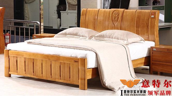 现代中式橡木床 全实木厚重双人床1.8米床头带雕花新品特价 6866