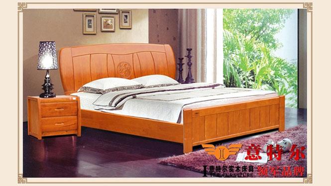 全实木橡木床宜家简易现代中式实木床成人双人床1.8米特价 6867