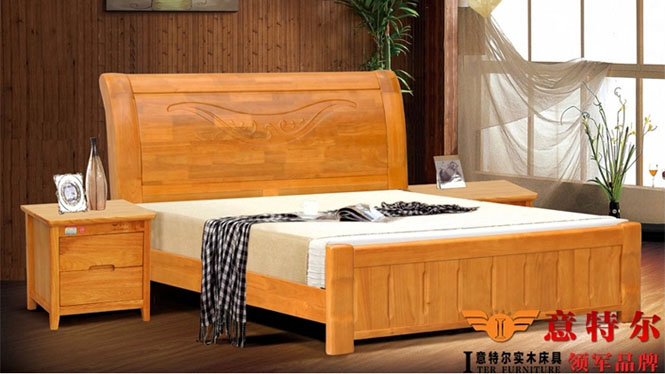 现代中式橡木床 全实木厚重双人床1.8米床头带雕花新品特价 6868