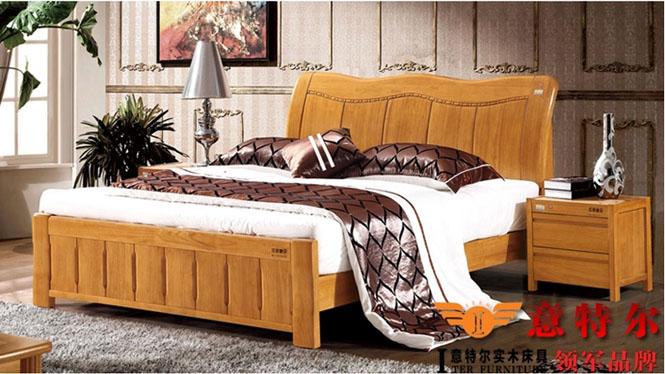 全实木卧室家具简约中式橡胶木实木床1.8米双人床特价 6869