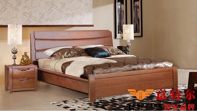厂家直销意特尔新品美国红橡木全实木橡木床1.8米双人床大床婚床 9662