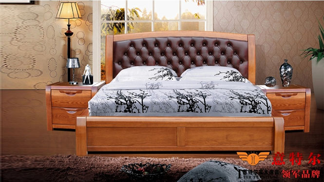 美国红橡木全实木床现代简约大气带软靠头层牛皮双人床特价 9663