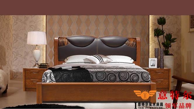 欧式简约现代红橡木全实木皮艺床1.8米软靠双人床婚床大床 9665