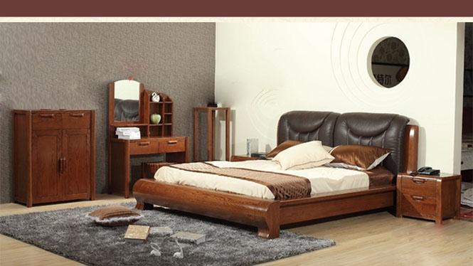 美国红橡木系列全实木床现代简约大气带软靠头层牛皮双人床 9666