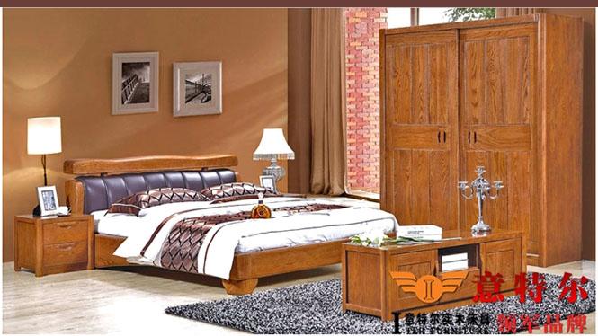 新品美国红橡木全实木带软靠真皮艺实木床1.8米双人床特价 9667