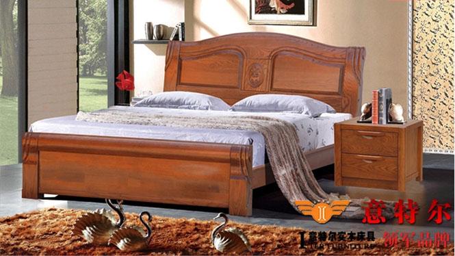 美国红橡木纯实木家具简约现代雕花床头双人床1.8米特价 9668