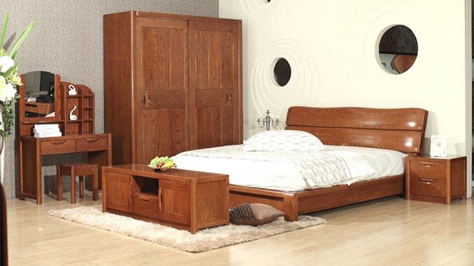 美国红橡木床大气纯实木床简约现代实木床1.8米双人床特价 9669