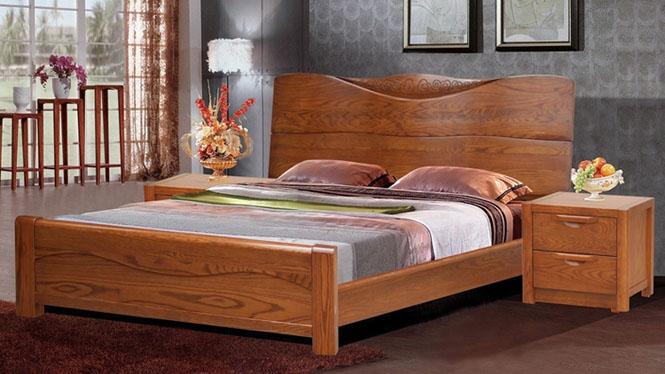 美国进口红橡木全实木床简约现代成人床双人床1.8米婚床 9670