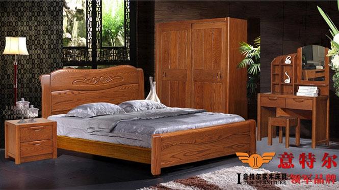美国红橡木床大气纯实木床简约现代实木床1.8米双人床特价 9671